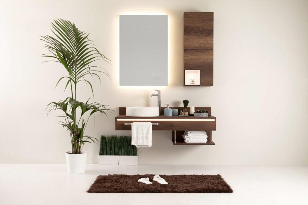 Una panoramica su un allestimento di arredo bagno minimal.