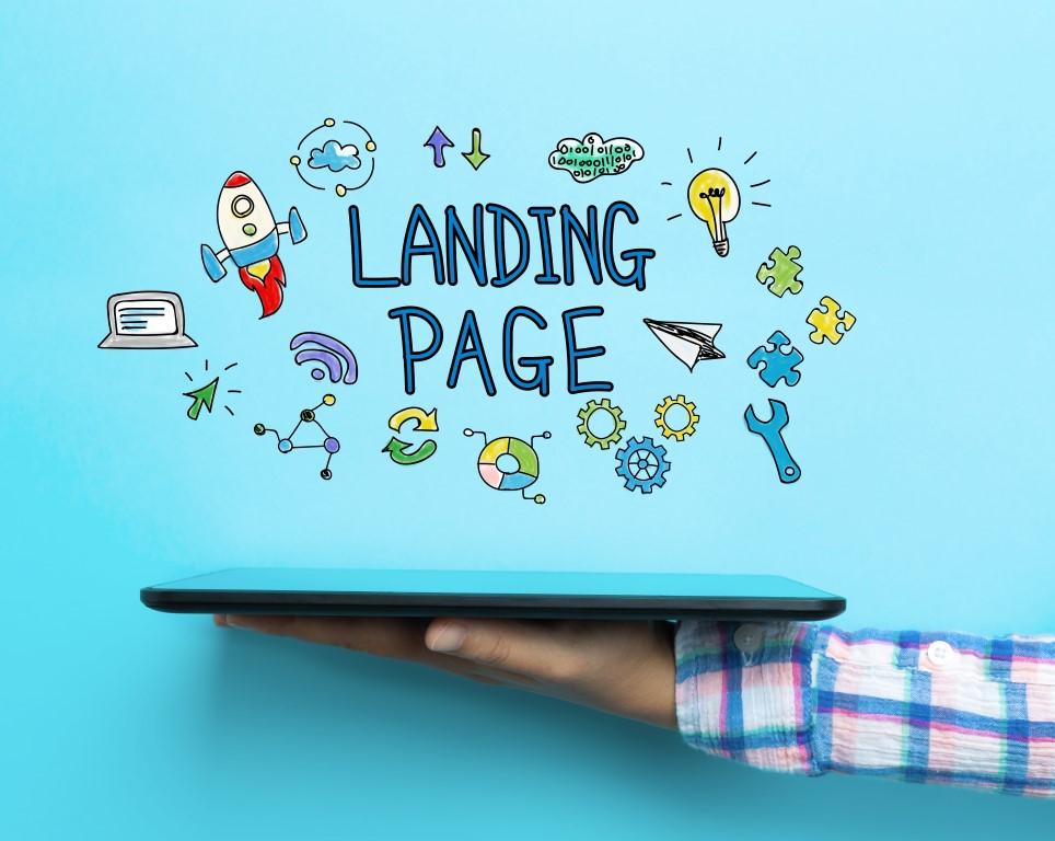 Icone che rappresentano i possibili contenuti di una particolare pagina web: la landing page